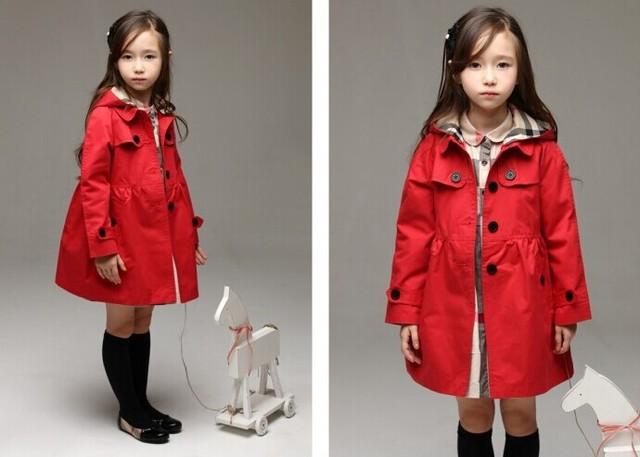 Los niños calientes prendas de vestir exteriores del otoño del resorte Niños Niñas abrigos largos de Color Caqui Rojo 2-niña 8 años de edad Los Niños ropa abrigos