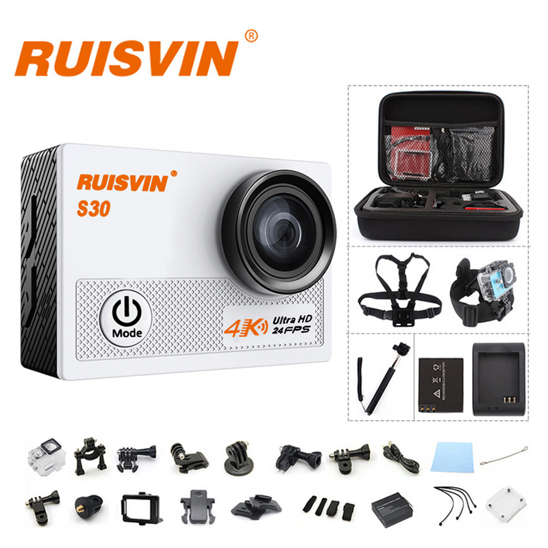 Original RUISVIN S30 Wifi 4K 24fps Novatek 96660 2.0 LCD Action Camera 30M Diving Go Waterproof Pro Camera Ultra HD Sports Cam original ruisvin s30a 4k wifi full hd 1080p 60fps 2 0 lcd action camera 30m diving go waterproof pro camera ultra hd sports cam