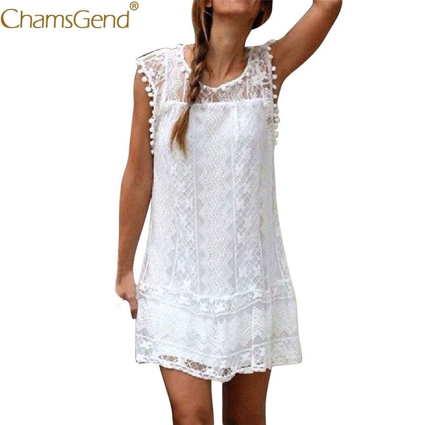 Women Girls Sleeveless White Lace Loose Mini Dress 80417