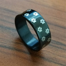 Charm 4 Color 8 mm Wide Men Ring Dog Cat Footprint Stainless Steel Rainbow Paw Rings For Women Fashion Pet Owner Jewelry Gifts