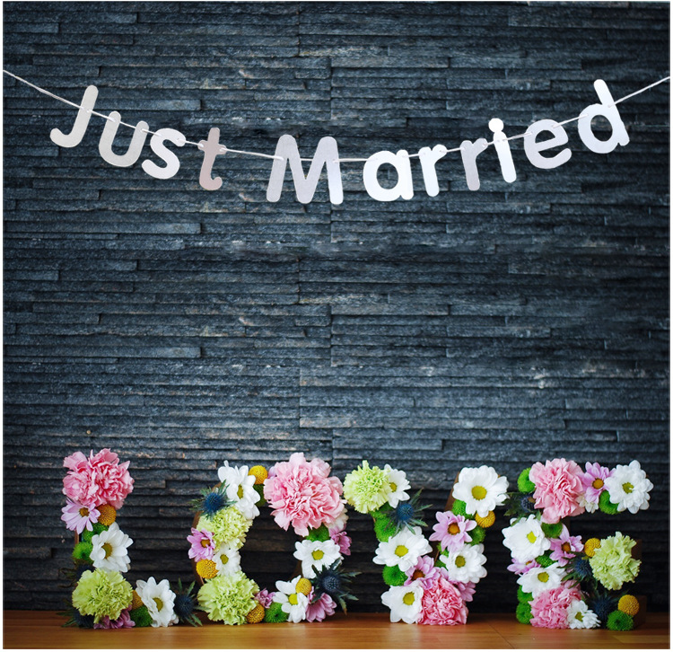 Diy Wedding Word Banners: JUST MARRIED Western Wedding Banner Party Handmade