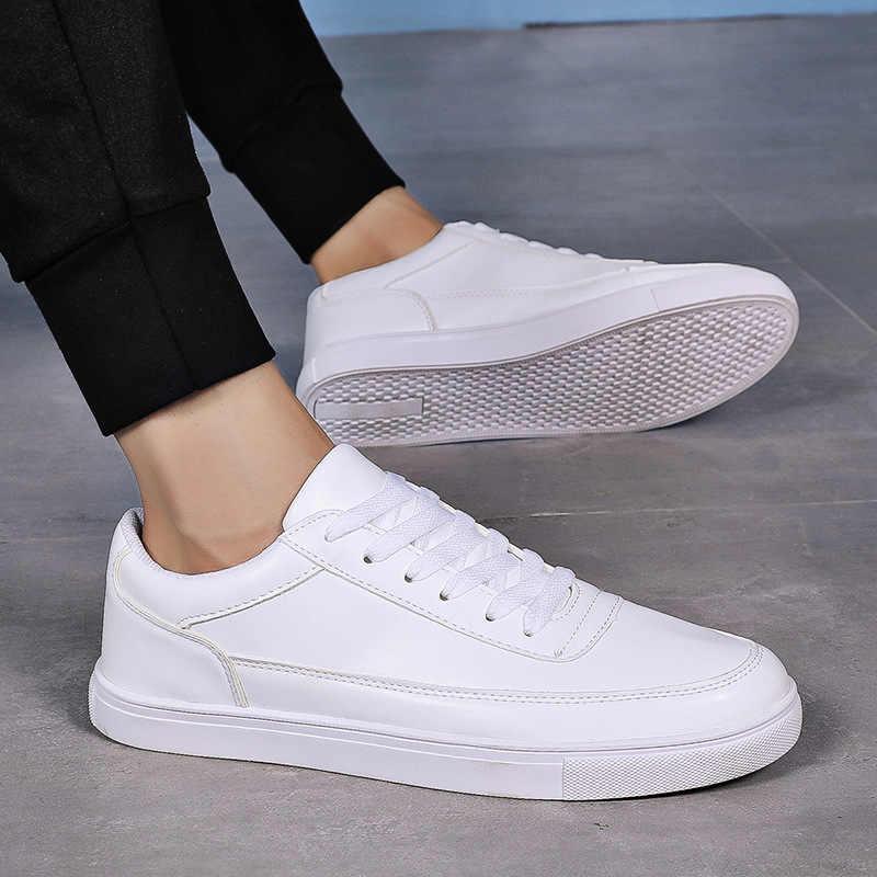 Upuper Baru Pria Skateboard Sepatu Pria Datar Sepatu Rendah Santai Berjalan Sepatu Kulit Sneakers Non-Slip Chaussure Homme