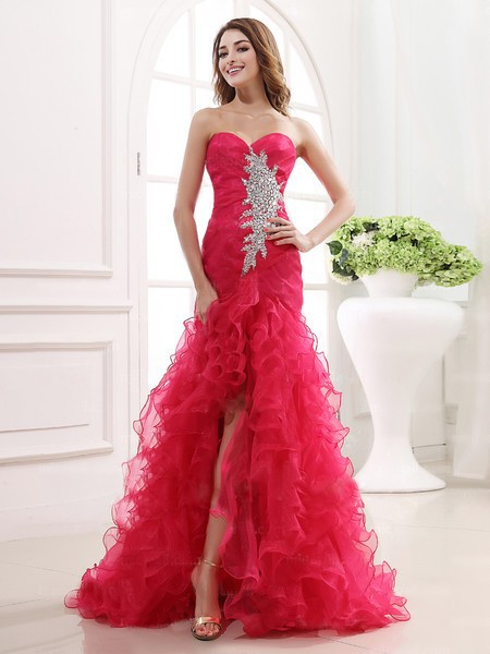 Online Shop 2015 Elegant Red Prom Dresses Organza Mermaid ...