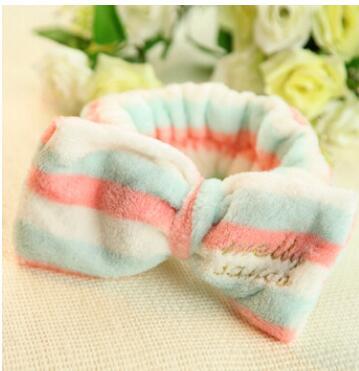 100pcs/lot fedex fast free shipping korean style woman dot headbands coral fleece headwear bowknot headbands