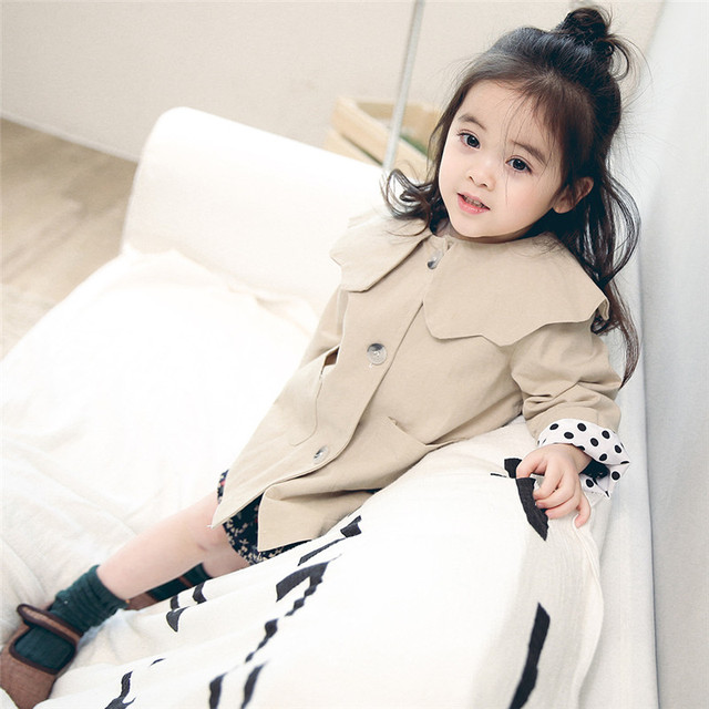 176962fa2d55 New Korean 2018 Spring Autumn Baby Coat Khaki Flower Neck Fashion ...