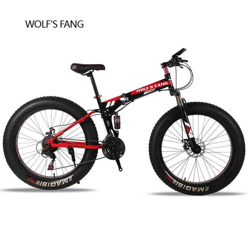 wolf's fang Folding Mountain Bike 21/24 speed 26X4.0 inch fat bike Snow bicycle brand Front and Rear Mechanical Disc Brake