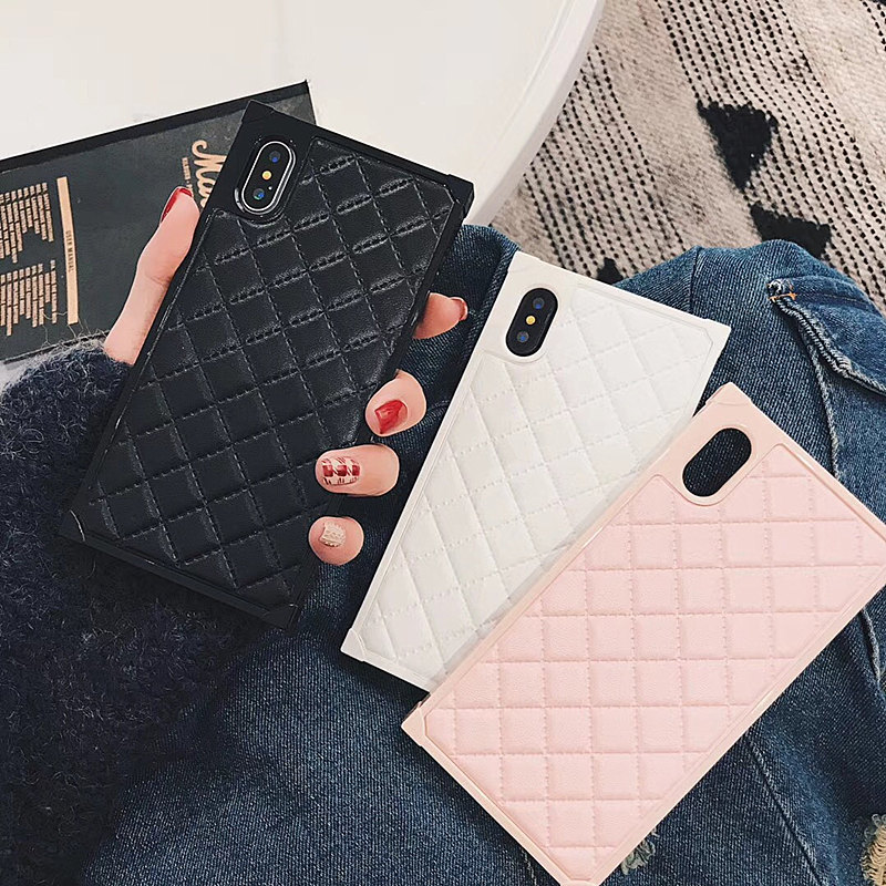 SZYHOME Phone Cases for Iphone X 6 7 8 Plus Vintage Fashion Luxury Fashion Square Lattice PU Leather Phone Cover Accessories