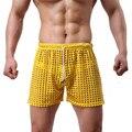 2016 Nuevos Mens del Cordón Fishnet de la Ropa Interior Hollow Out Ver A Través de Malla Calzoncillos Pantalones ropa de Dormir 6 Colores Liberan El Envío