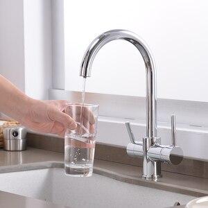 Image 2 - Grifo de cocina con filtro de agua, grifos de doble curva de ángulo recto, grifo de agua potable hecho en latón