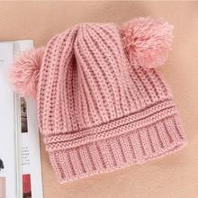 ed565d3781d Korean Style Baby Knitted Hat Lovely Dual Ball Design Beanie Kids Warm Wool  Cap FJ88(