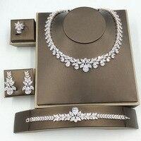 Echoo Luxuru AAA Cubic Zirconia Bridal Jewelry Set For Women Wedding Shining Water Drop Shape 4pcs