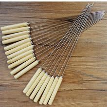 10 шт. Открытый Пикник Шпажки для барбекю жареная Палочка из нержавеющей стали иглы с деревянной ручкой Brochette Tong Kebabe инструменты