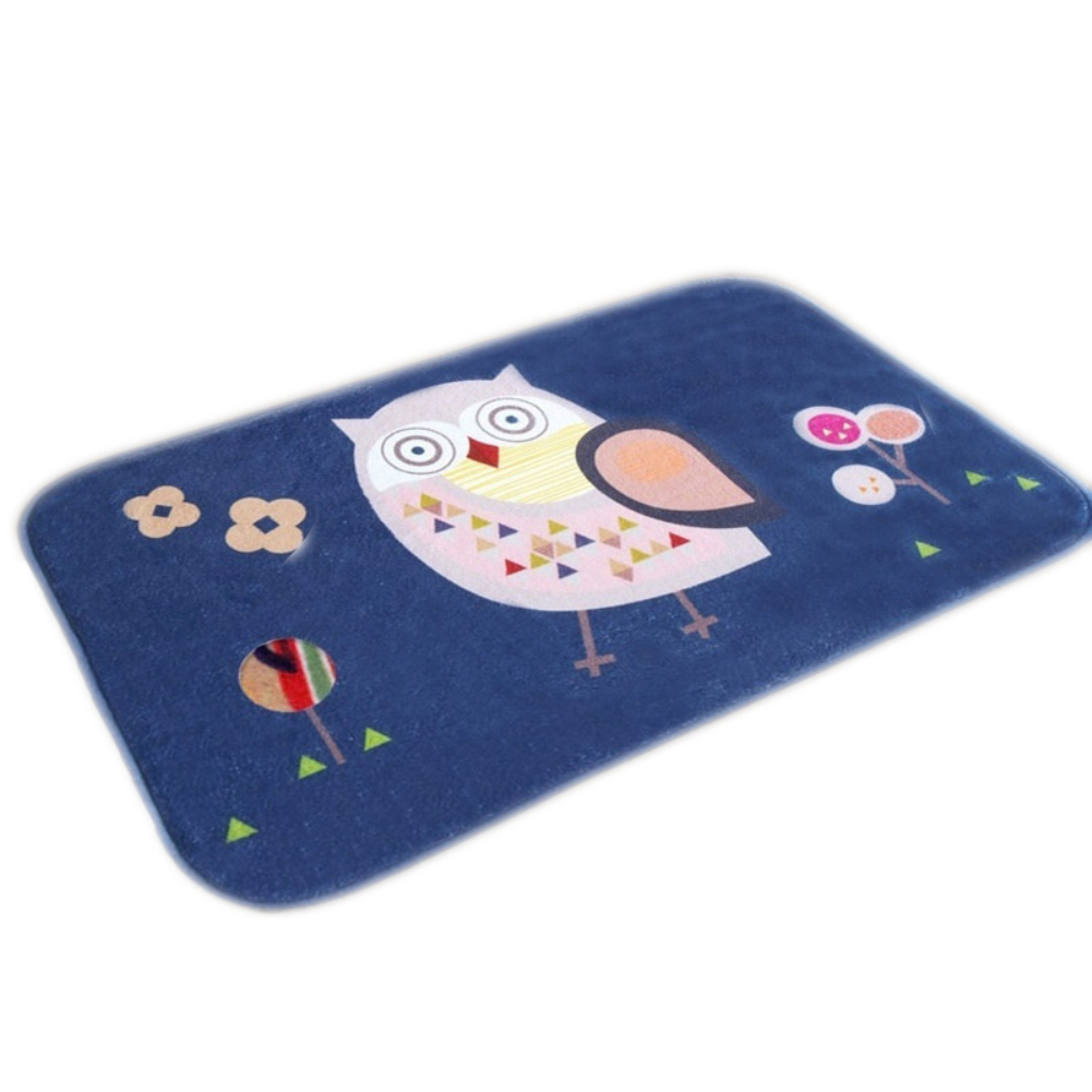 Soft Cartoon Cute Owls Printed Doormat Bathroom Bedroom Floor Rug