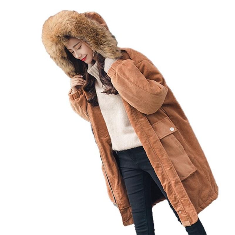 d2d6a1d78e124 ... Parka Côtelé Solide Manteau Lâche Bouton orange Qian vert Pardessus  Coton Col Faux rouge Couleur H248 Chaud Femelle Se D'hiver Veste De  Fourrure Femmes ...