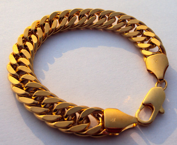 Тяжелая Мужская 24-каратная желтая твердая позолоченная отделка толстый кубинский браслет-цепочка Майами