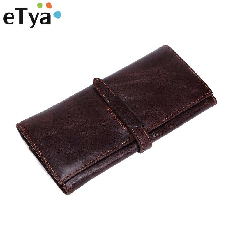 Genuine Leather Men Wallet Fashion Vintage Women Long Wallets Men Multi-card bit Zipper Purse Coin Business Male Clutch bag