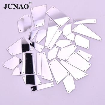JUNAO 20 шт., смешанные размеры, прозрачные кристаллы, Прошитые зеркальные Стразы, аппликация с плоской задней частью, акриловые стразы, пришитые камни для платья, рукоделие
