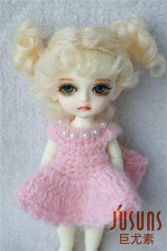 JD269 1/8 mohair dukke perle Lovely dobbelt bolle BJD hår Lati gul - Dukker og utstoppede leker