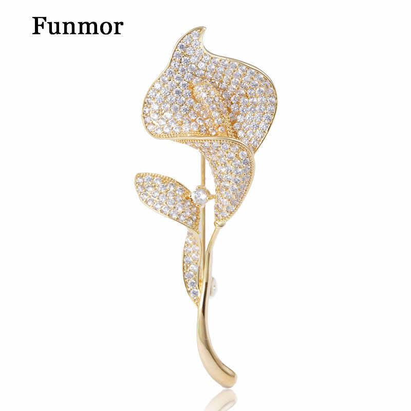 Funmor exquise fleur forme broche cubique Zircon bijoux femmes hommes col manteau robe écharpe chapeau épingles Banquet accessoires cadeaux