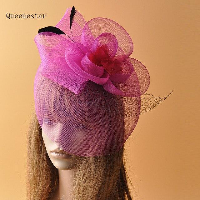 6094b18d13e1 Hot Pink Flower Hairpin Women Fashion Gauze Feather Veil Fascinator Hair  Clip For Wedding Bridal Mesh Headwear Hair Accessories