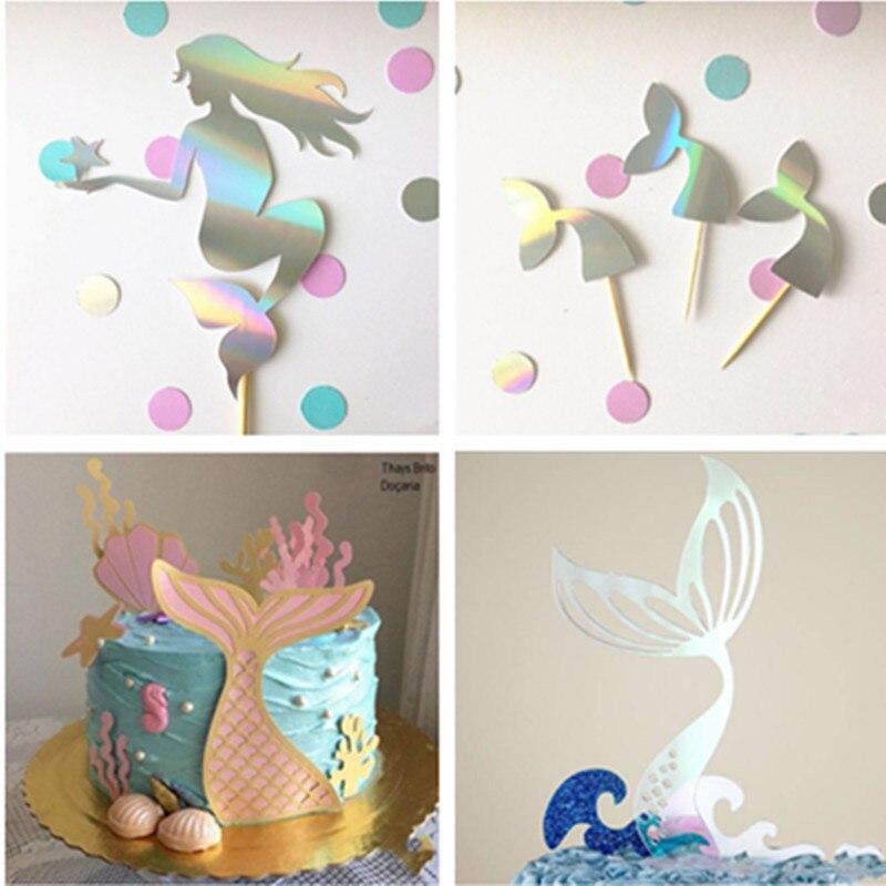 Nowy ogon syreny akrylowy Topper do ciasta ślub Mermaid Laser Paper Cake Topper na urodziny na przyjęcie do tortu dekoracje Baby Shower