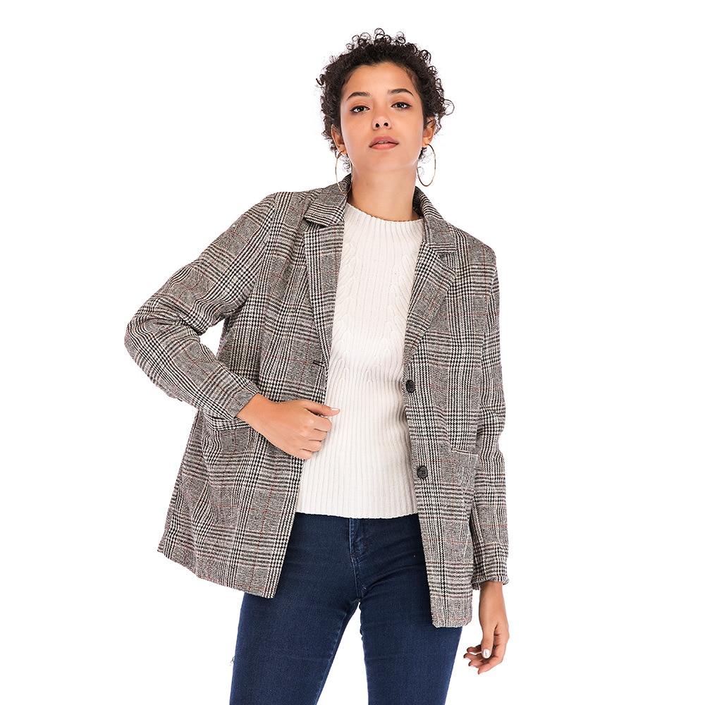Vers Poule Marron Femmes De Tournent Mode Blazers Vintage Bas Le Printemps 2019 Occasionnels Plaid gris Blazer Automne Nouveau t4xwatq0