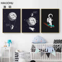 HAOCHU Space Scene Moon Decoration Picture Black Canvas Painting Rocket Wall Art Poster Boy Bedroom Living Room Home Decoration
