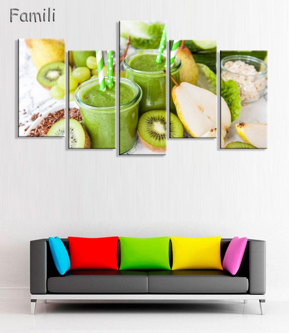 5pcs Orange Kiwi Avocado Wall Art Posters And Prints Canvas Painting ...