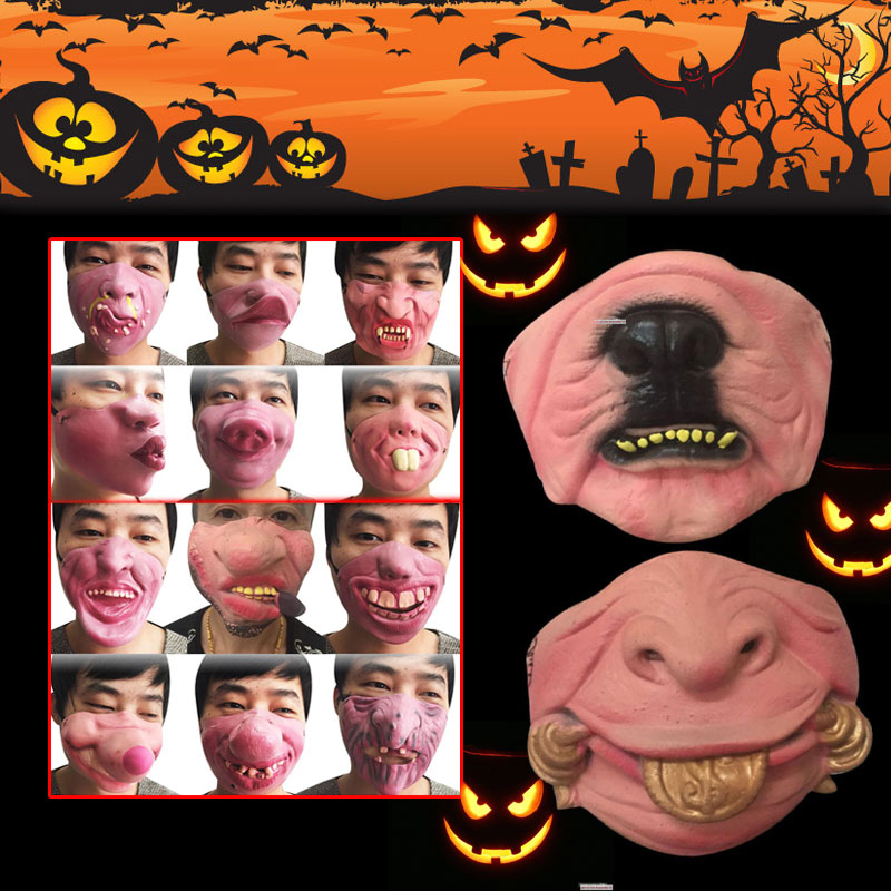Easter Day Trick Face Mask Halloween Half Face Mask Scary Cosplay Horrible Tricks Prank Fancy Dress Party Favors Gadget