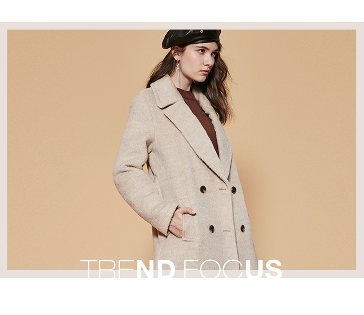 ONLY womens' winter new wool long thick woolen coat Fixed waist belt Double breasted Double breasted design|11834S543 17