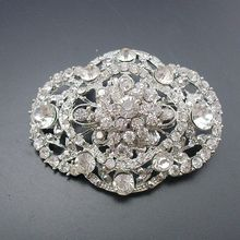 1 Piece Fashion Women Rhodium Plated Rhinestone Crystal Vintage Oval Bridal Wedding Collar Brooch Pin 2018