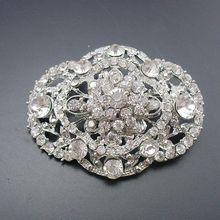1 Piece Fashion Women Rhodium Plated Rhinestone Crystal Vintage Oval Bridal Wedding Collar Brooch Pin, Item No.: BH7654