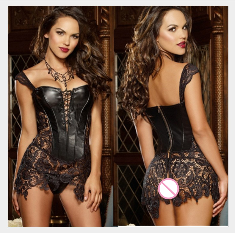GNDHICL Size Corset Women Black Faux Leather&Lace Steampunk Corset Dress Gothic Bustier Corset 2017 Sexy Corsets and Bustiers