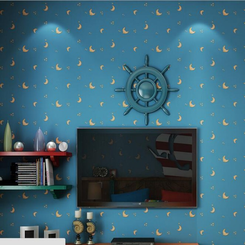 Beibehang Modern Minimalist Wallpaper Cute Moon Children Room Living Bedroom Background Wall 3d For Mural