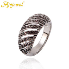 Ajojewel Hollow Out Geometric Rhinestone Rings For Men Or Women Free shipping New Arrival Silver-color Retro Jewelry