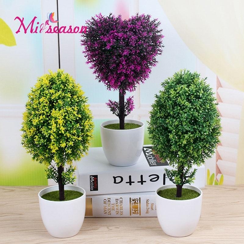 Artificial bonsai simulation decorative plant trees set small potted decoration flower for home desk wedding Christmas 1 set