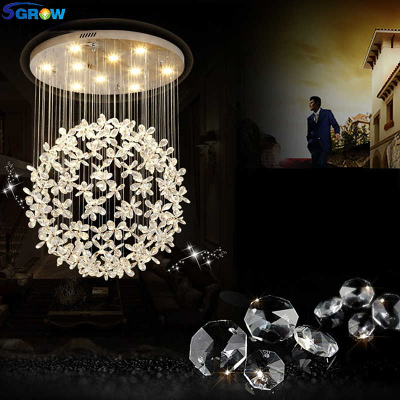 SGROW Modern K9 Crystal Chandeliers for Living Room Bedroom Dining Room Ceiling Hanging Lamp Art Deco Indoor Lighting Fixtures