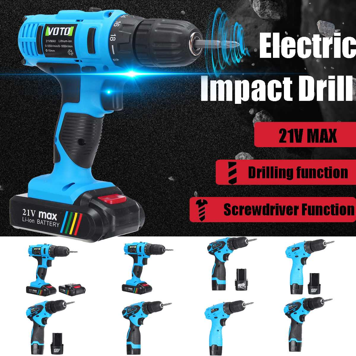 2000mAh Rechargeable Hand Drill Cordless Electric Screwdriver Impact Power Tools Double Speed LED 2*Lithium Battery Home DIY
