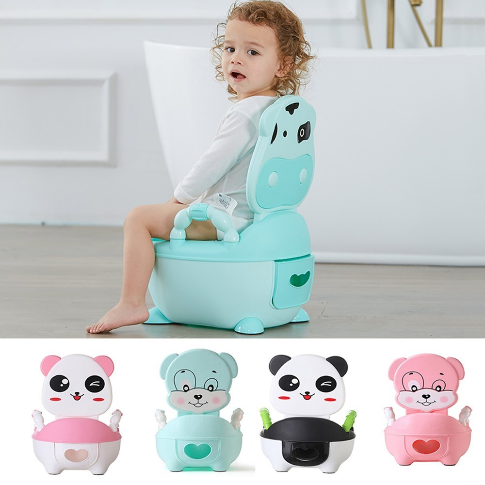 Portable Baby Pot Infant Road Pot Panda Dog Cow Children's Potty Portable Baby Urinal Potty Training Seats Folding Toilet Seat
