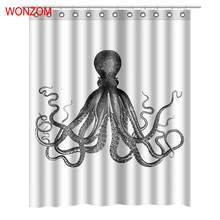 WONZOM Polyester Fabric Octopus Curtains Bathroom With 12 Hooks Waterproof Accessories For Decor Modern Animal Bath Curtain цена