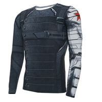 3D Winter Soldier Avengers 3 Compression Shirt Men Long Sleeve Fitness Crossfit T Shirts Male Clothing Tops Halloween Costumes