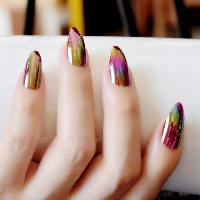 Holographic Rainbow Stiletto Fake Nails Mirror Chrome Gold Rose Color False Nail Full Cover