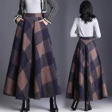 Plaid Skirt Women Long A-Line Skirt British Style Woolen Maxi Plaid Skirts Kilt Winter Wool Tartan Umbrella Plaid Skirts DC286(China)