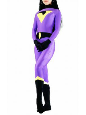 Dark blue & purple & yellow DC Comics The Wonder Twins Jayna Spandex Superhero Costume Halloween Costumes