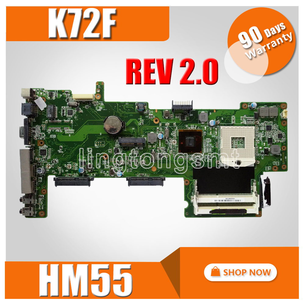 K72F Motherboard REV2.0 HM55 DDR3 For ASUS X72F K72F A72F Laptop motherboard K72F Mainboard K72F Motherboard test 100% OK|pga 989|motherboard for asus|k53sd motherboard - title=