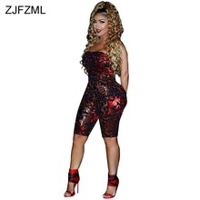 Sparkly Red Sequins Velvet Jumpsuits For Women 2018 Strapless Sleeveless  Skinny One Piece Overall Autumn Backless Party Playsuit b4774626b813