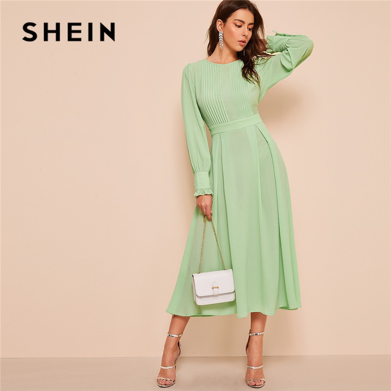 SHEIN Frilled Cuff Pleated Panel Fit And Flare Maxi Dress Women Spring Elegant Solid High Waist A Line Long Dress Party Dress