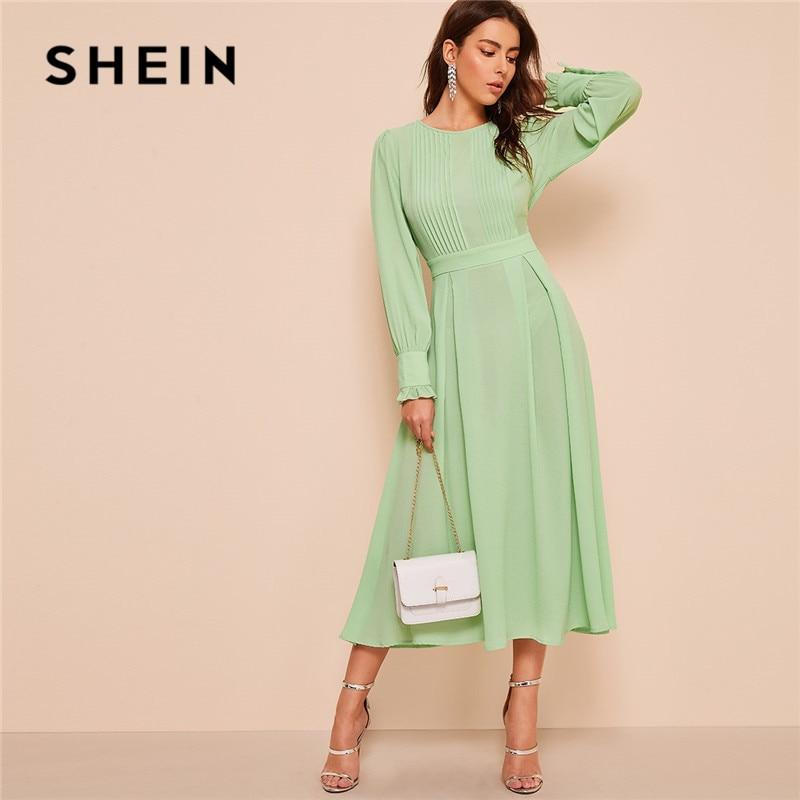 Женское плиссированное платье SHEIN, длинное весеннее платье с высокой талией и воланами|Платья|   | АлиЭкспресс - Красивые платья в офис