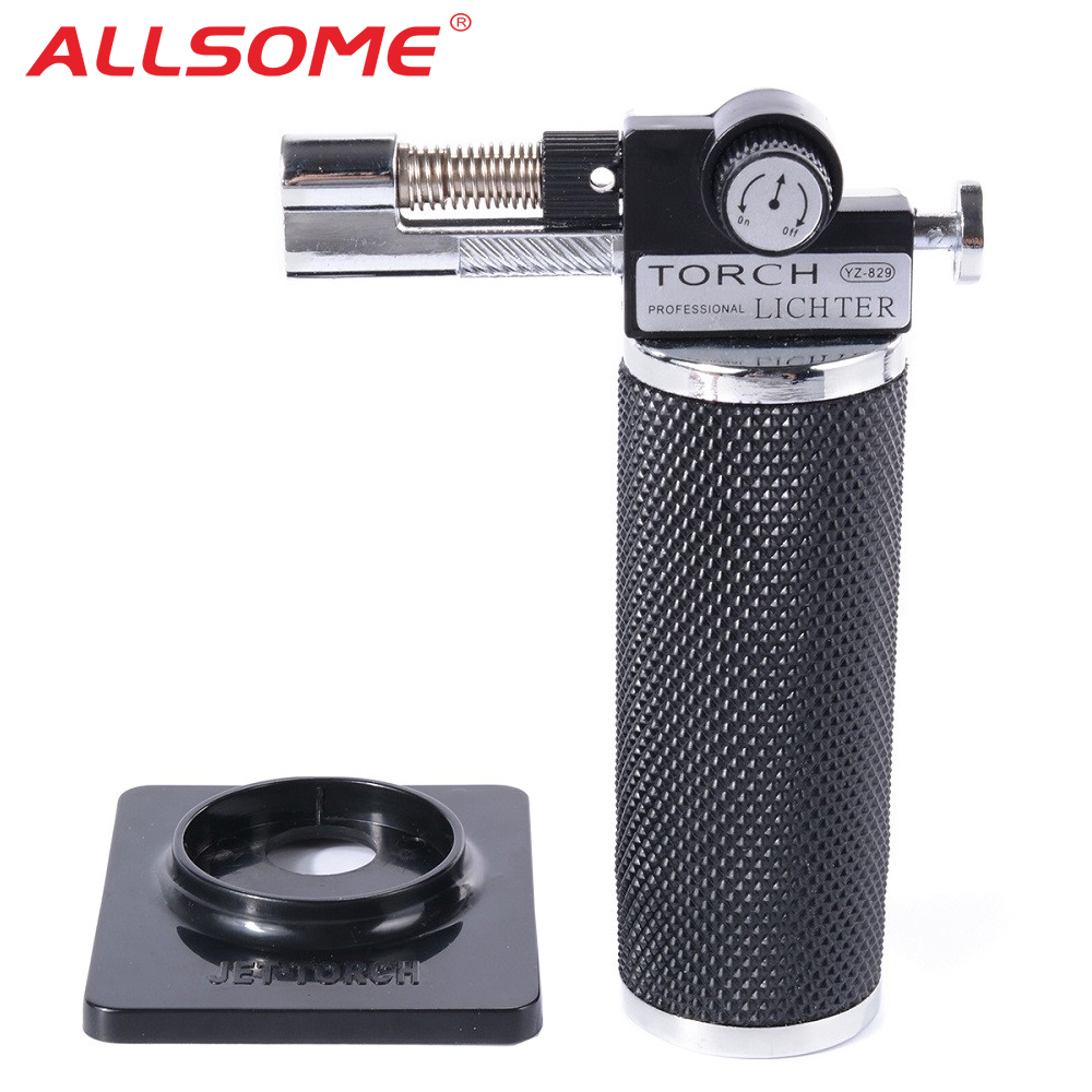 ALLSOME Flame Gun Torch Butane Lighter Burning Torch Electricity Ignite Outdoor Gas Torch Camping BBQ Soldering Welding Tool