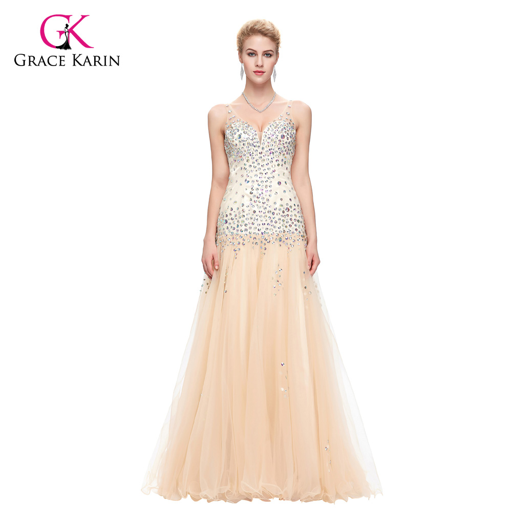 Evening Dress 2018 Grace Karin V Neck Tulle Ball Gown Apricot ...